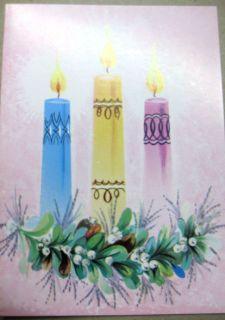 VC 370 VINTAGE CHRISTMAS CARD THREE CANDLES HAPPY HOLIDAYS UNUSED