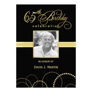 65th Birthday Party Invitations   Photo Optional