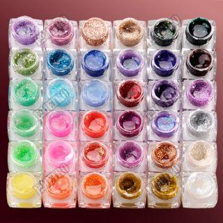36 Farben UV Gel Farbgel Effektgel Glitter Glitzer Puder Nail Art Deko