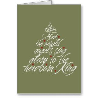 Hark the Herald Christmas carol lyric tree green Cards