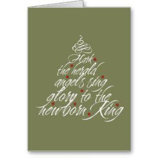 Hark the Herald Christmas carol lyric tree green Cards