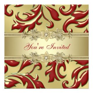 Red Gold Leaf Red Gold Corporate Christmas Party Custom Announcements