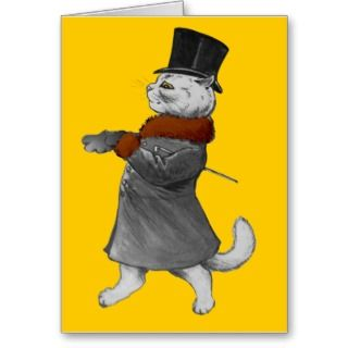 Vintage Louis Wain Gentleman Cat in Fur Coat Card