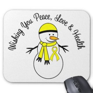 Christmas Snowman Bladder Cancer Ribbon Mouse Pads