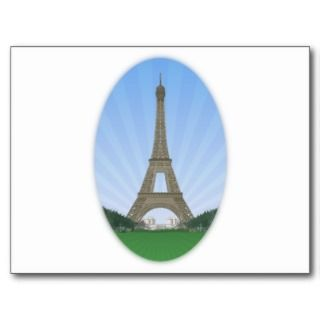 Paris Eiffel Tower Vector Drawing Post Card