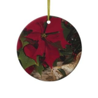 Red Christmas Poinsettia Holiday Tree Decorations Christmas Ornament