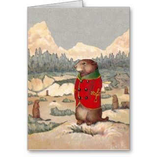 Prairie Dog and Christmas Tree Greeting Card