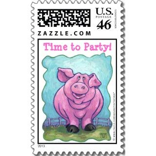 Pink Pig Character Happy Birthday Cards