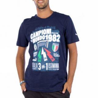 Puma Figc Italia Graphic M Dunkelblau Kurzarm T shirts Herren Fussball