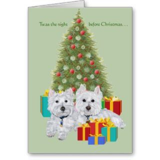 Westies by the Christmas Tree Cards