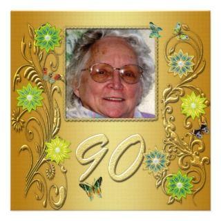 Golden Garden 90th Birthday party invitation