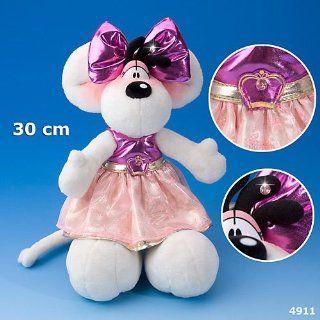 Diddlina Plüsch 4911 Glamour ca 30 cm im Kleid Lila / Pink / Gold