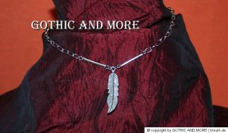 Halskette Collier Feder Gothic Indian necklace chain feather silver