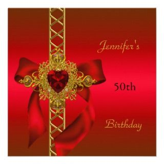 50th Birthday Party Red Gold Heart Jewel 2 Announcement