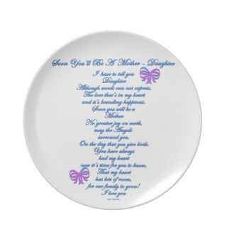 Daughter Expecting 1st Baby Party Plate