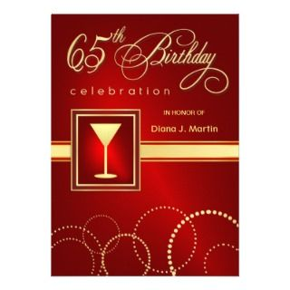 65th Birthday Party Invitations   Ruby Red & Gold