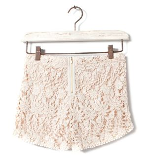 New Women Sexy Retro Beige Cotton Blend Floral Lace Crochet Shorts