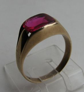 Goldring   10 Karat Gold   416er   mit rotem Stein   Ring Damenring