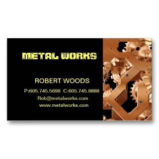 steam metal punk gear work business card template