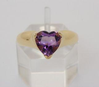Amethyst Ring in 10kt 416 er Gold Herz Herzring Amethystring Gelbgold