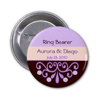 Fairy Tale Purple Wedding Party Button