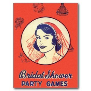 Vintage Kitsch Bridal Shower Party Games Post Card