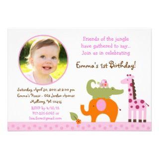 Mod Safari Jungle Animal Girl Birthday Invitations invitations by