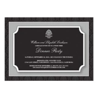 Elegant Damask Dinner Party Invitation (silver)