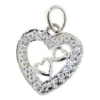 Wunderschöner 9 Karat (375) Weißgold Herz Damen   Diamant Anhänger