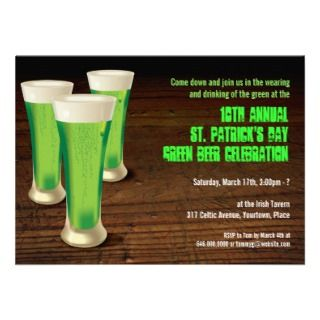 Raining Shamrocks St Patricks Day Party Invitation