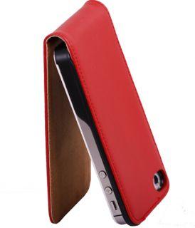 Echtes Leder Tasche Hülle Etui Flip Case Schutzhülle Red #439