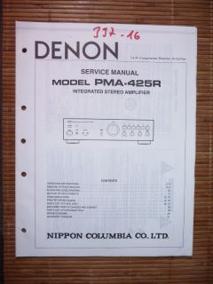 Service Manual für Denon PMA 425 R ,ORIGINAL