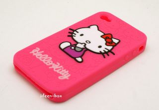 Silikon Hülle Case Schale iphone 4 Hello Kitty Pink Süß