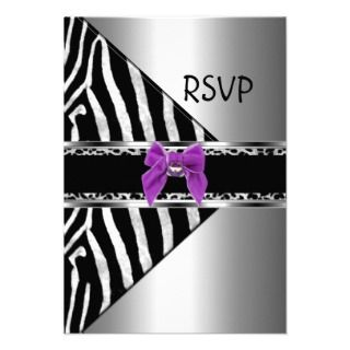 RSVP Purple Silver Black Zebra Leopard Personalized Invites