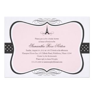 Eiffel Tower Paris Bridal Shower Personalized Invitations
