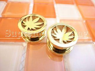 Marihuana Blatt Marijuana Leaf Gold Stahl Flesh Tunnel Ohr Plug 457