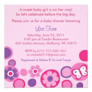 Pop Flower Butterfly Baby Shower Invitations invitations by little