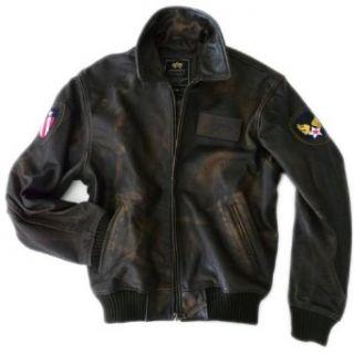 Alpha Industries A2 Vintage Leder Fliegerjacke mit Druck, braun