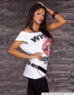 Shirt Top Shirt Pallietten corall rot rosa XS/S/M 34/36/38 NEU