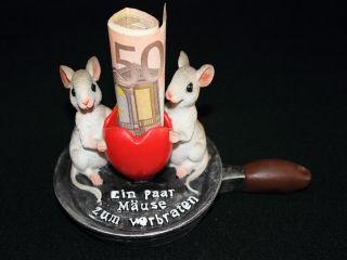 Mäuse zum Verbraten Geldgeschenk Figur Deko Geschenk Hochzeit