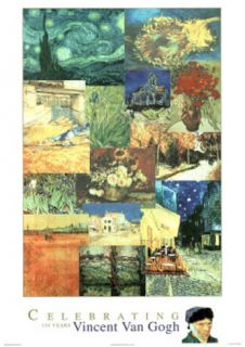 Vincent Van Gogh 150 Years Collage Art Print Poster Posters