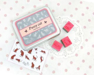Pussy Cat Embossing Stempel Set Box 15 Motiv Katze