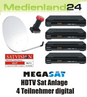 Teilnehmer HDTV Sat Anlage 4x Megasat HD 500 0,1dB LNB
