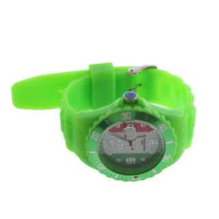 Silicone Rubber Jelly Gel National Flag Quartz Wrist Watch Analog