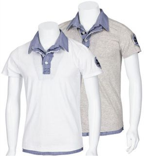 MONOPOL Polo Shirt PO505 S XXL grey white T Shirt Hemd grau