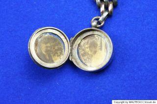 Antike Chateleine Uhrenkette aus Tula Silber mit Medaillon zum Öffnen