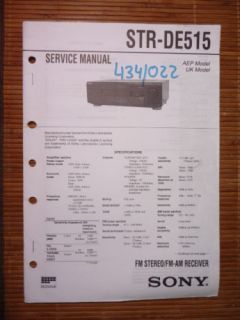 Service Manual Sony STR DE515 Receiver,ORIGINAL