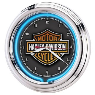Harley Davidson® Essential Bar & Shield Neon Wanduhr