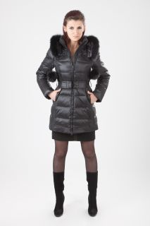 Luxus REAL FUR Daunenmantel Winter Jacke Down coat mit echtem Pelz