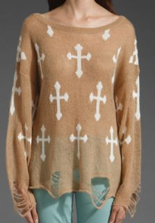 Color Distressed KNITTED Popular White Stag DEER HEAD Jumper Sweater